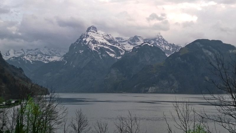 Last look at the mountains and lakes of Switzerland before sunset.