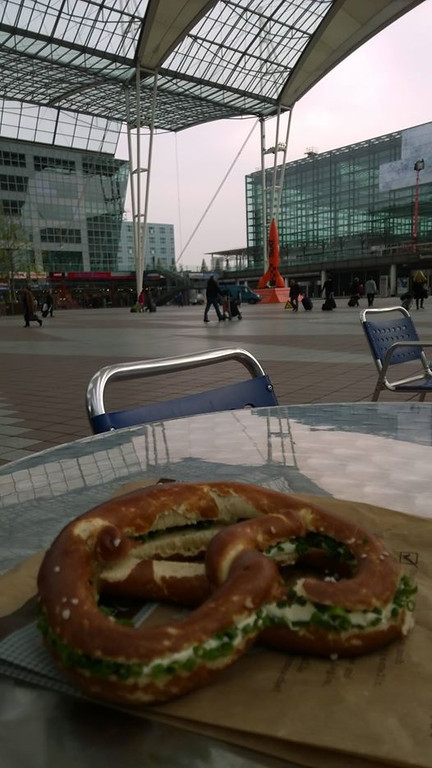Mmmmm, what's better for breakfast than a pretzel with fresh cream cheese and chives! - Awesome!