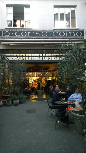 "Checking out ""the scene"" at a pre-dinner function at 10 Corso Como, (like a Fred Segal, but more interesting)!"
