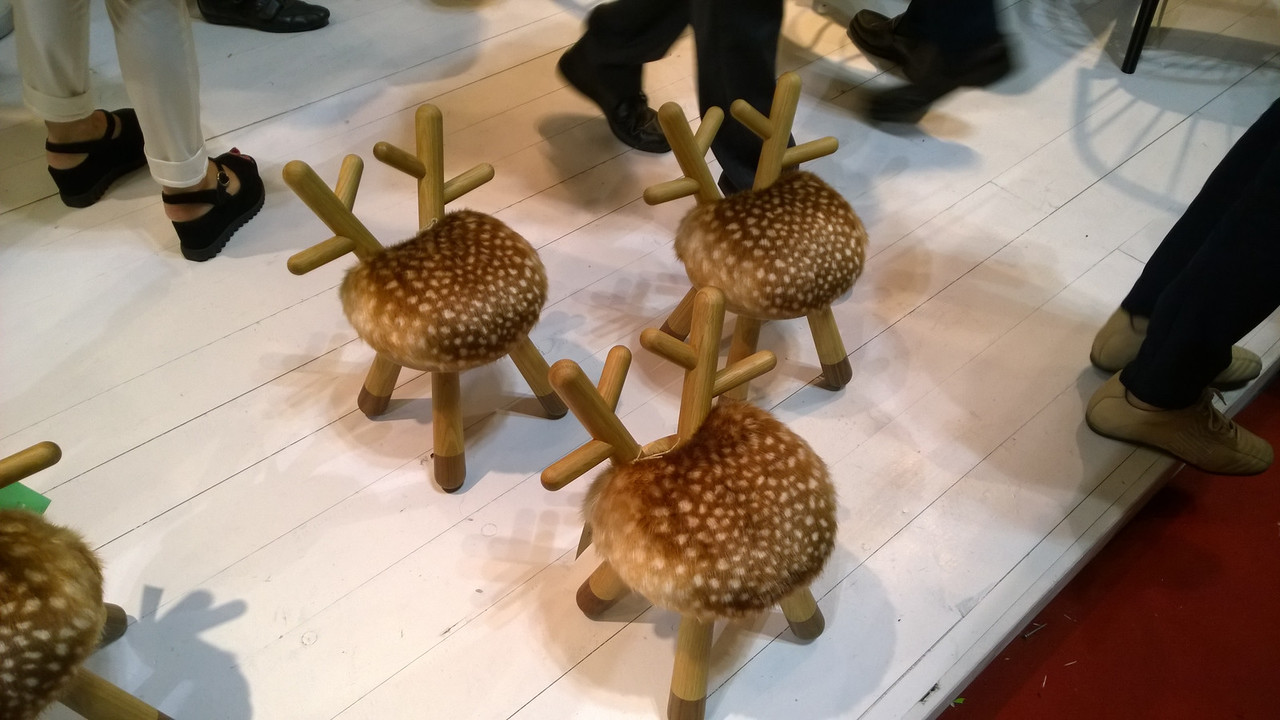 """The best thing about the Scandinavian Design stand was the free flow champagne, not really the """"reindeer stools"""" . .  ."""