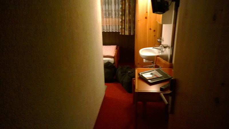 """World's tiniest room in Saas-Fee, das Einy-Zimmer! I don't remember booking a """"corridor"""" :( . . ."""