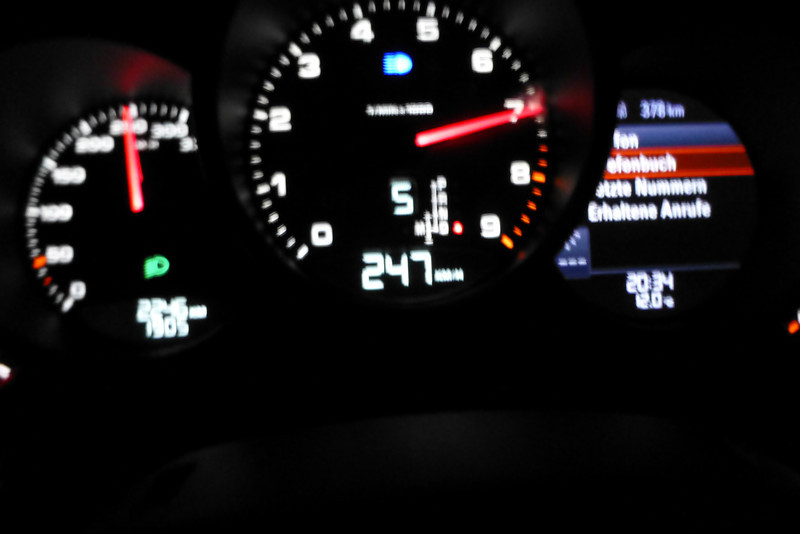 Approaching 250km/hr on the Autobahn; (don't try this at home!)