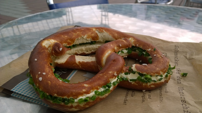 Nothing better for breakfast than a pretzel with cream cheese and fresh chives!