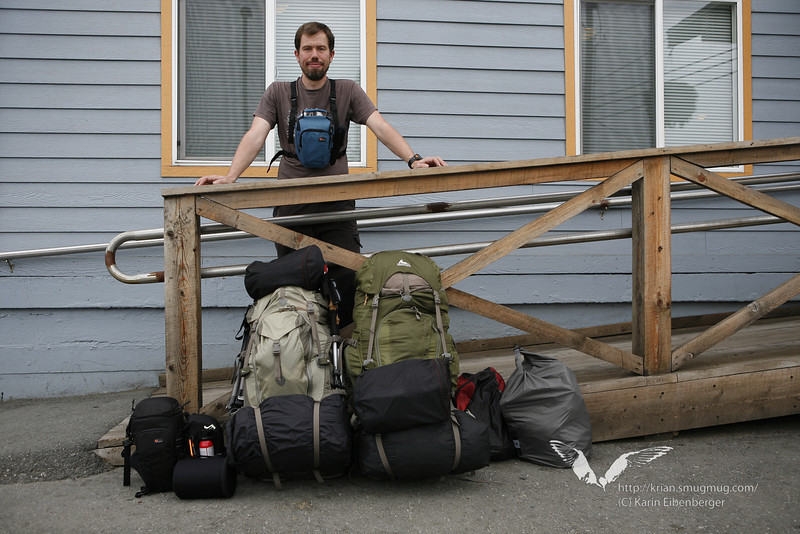 August 2011. Bernhard in Anchorage. And two heavy backpacks.