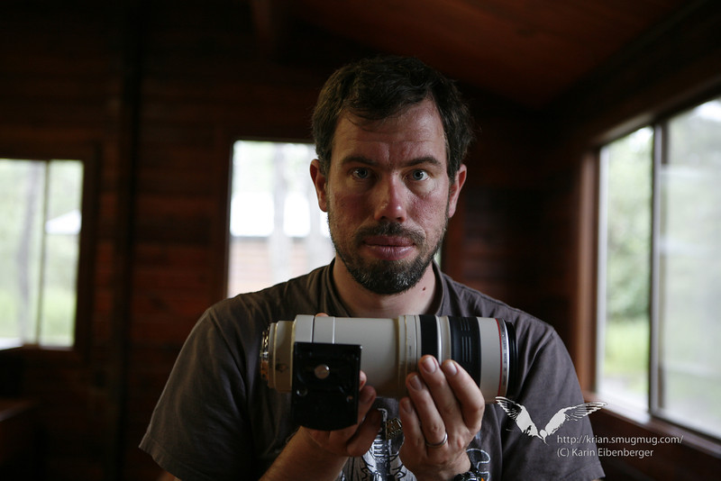 August 2011. Trying to dry a lens.