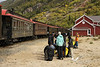August 2011. Chilkoot Trail. Day 5 - Bare Loon to Bennett Station. Hiker Pick Up at the train station with the Yukon and White Pass Railroad.