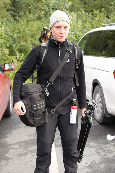 August 2011. Hiking with camera and bear spray into the Kenai Fjords National Park.