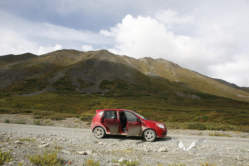 August 2011. Driving the Denali Highway in our rental car (you must not tell the car rental company about that).