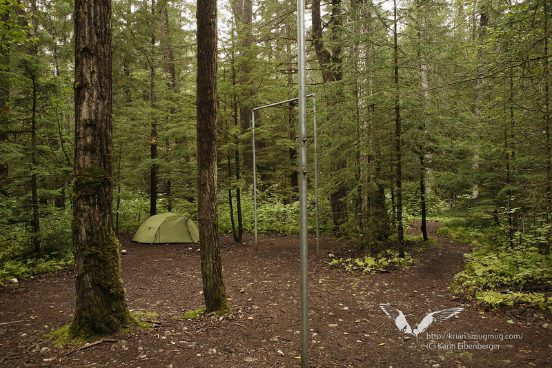 August 2011. That's what a camp may look like - this is Canyon City Camp. The poles are for hanging up food or all things that smell, but they built up new food caches aswell, which are more convenient and preferable.