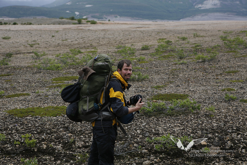 August 2011. Bernhard hiking in the Valley of 10,000 Smokes.