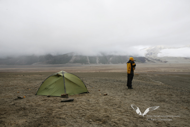 """August 2011. Bernhard at the 6 Miles Camp (which is no """"camp"""" at all) in the Valley of 10,000 Smokes."""