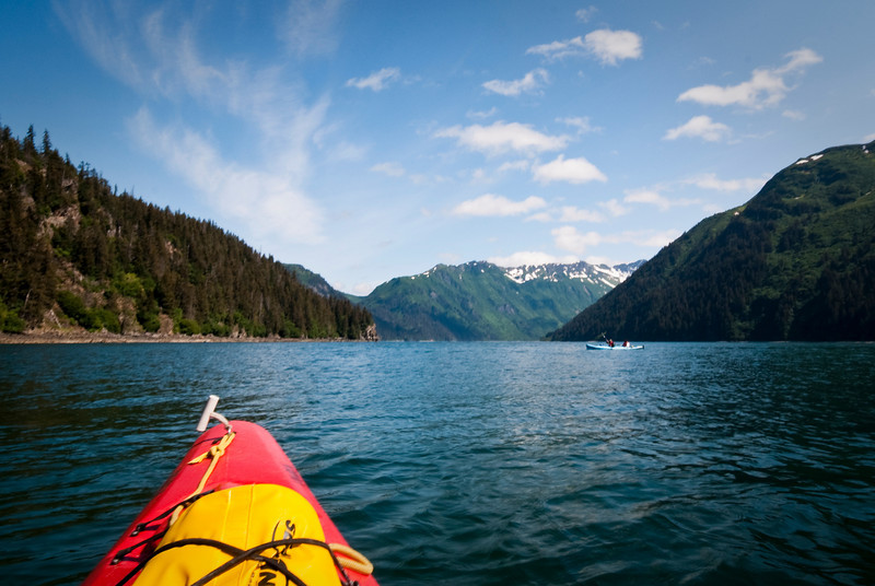Kayaking into the entrance to Sadie Cove<br /> Kachemak Bay<br /> Alaska<br /> © 2010