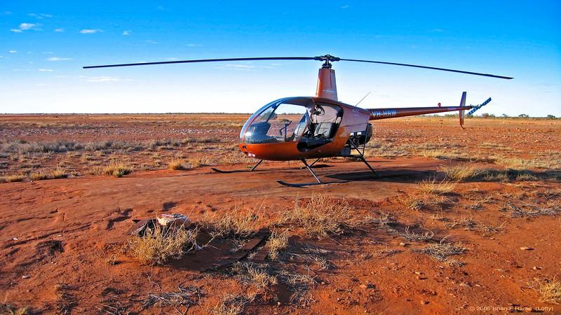 Webb chopper parked in Windorah, from Webb Helicoptors based in