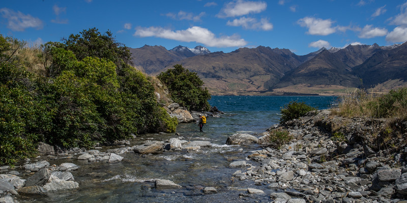 The creek meets Lake Wanaka. The snow on the tops means rest of our trips will be in snow melt water!