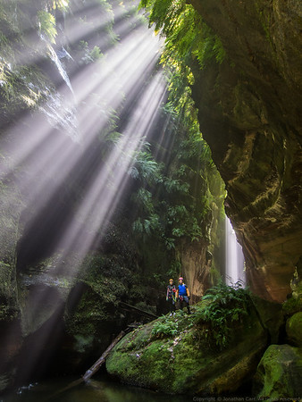 Sunbeams in Claustral Canyon.