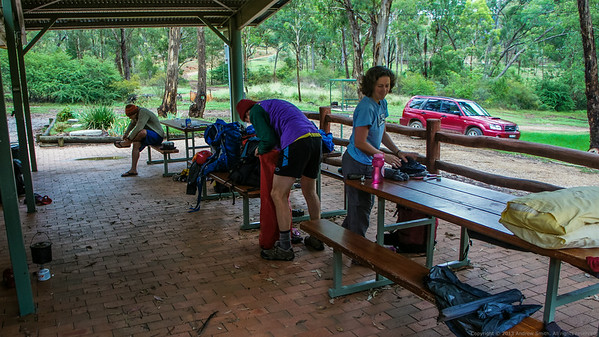 We repack after breakfast in the shelter of the Glen Davis camp ground.