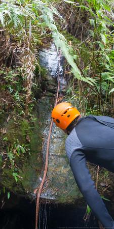 When we reach Range Creek there's an 8m slide!