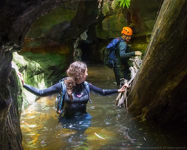 Jason traverses on a submerged ledge.