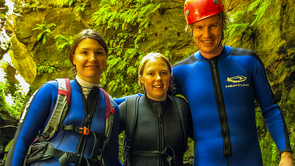 Kim, Kathrin and Smiffy.  Kim and Smiffy are modelling their schmick new 3mm/5mm canyoning wetsuits.  Kathrin's wearing a full diving wetsuit giving her 10mm of insulation.  She still got cold but she floated like a cork.
