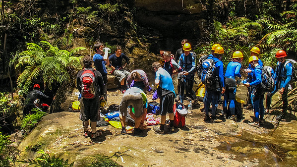 When we reach the start of the canyon proper it's peak hour!  Two commercial groups and a private group.  We have plenty of time so we eat some food and relax while we wait for them to clear.