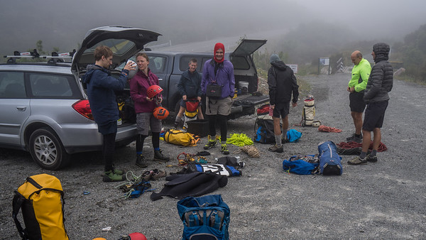 Getting all our gear sorted in the Temple Basin car park. There's a chilly breeze blowing over the pass that's reminding me how changeable New Zealand weather is.