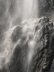 Spray rains down on Steve as he gets close to the bottom.