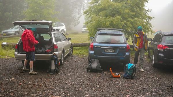 We arrive at Mt Wilson shrouded in mist.