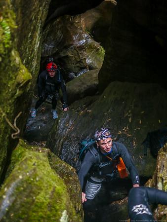 Martin spots Marese on a climb down.