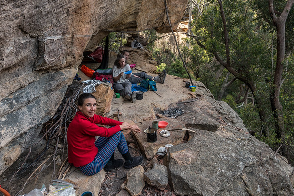 We finally reach our camp cave for the next 2 evenings perched high above the creek.