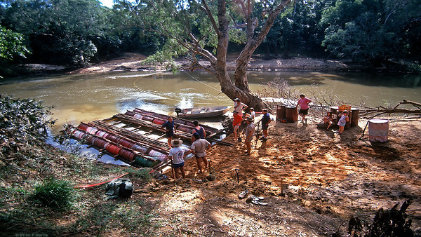 Ready to load test the raft. The lead rig is over 5 tonnes. The strong current of the water would roll 4x4 rigs over.