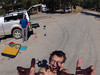 Dirtbagging it in the Devils Tower parking lot, waiting for the sun to dry up the morning's rain storm. <br /> GoPro on Drone – AJ Elliston, Pilot