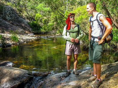 It takes us almost an hour to reach Mt Barney Creek.  It's flowing nicely after a wet summer.