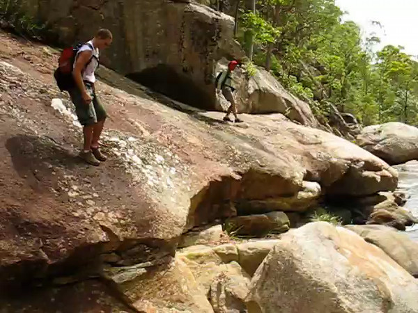 Nick tests his rock hoping skills.