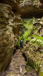 Toni enters the canyon that drains the Pondage.