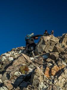 Down climbing loose rock.