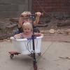 I'm hanging on! Powerwing + washing basket = FUN!