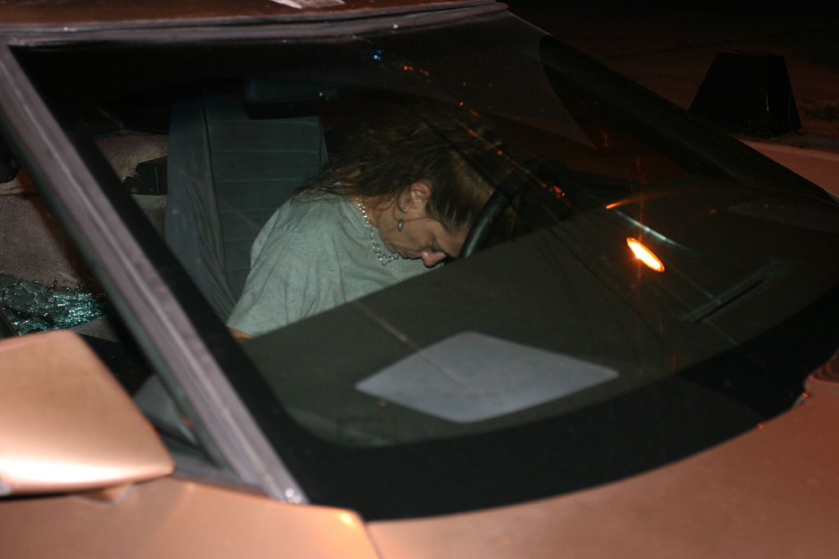 I guess I should explain - This was the lady I found passed out at the wheel on Ft. Harrison. I had to pound on her window and screamed at her to get out of the car, but she ended up waking up and speeding away - with her entire exhaust system in tow.