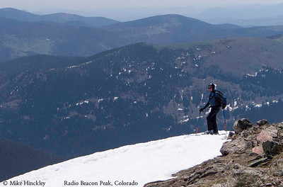 Ski mountaineering off Radio Beacon Peak in Indian Peaks Wilderness, Colorado, USA