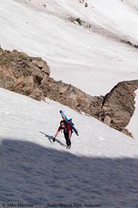Ski mountaineering off Radio Beacon Peak in Indian Peaks Wilderness, Colorado, USA