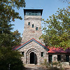 The Cheaha Mountain lookout tower goes up about 50 feet and offers 360 degree views of the surrounding area.