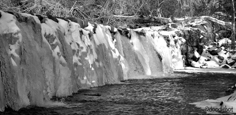 The waterfall caused by the damn at Sycamore Mill.