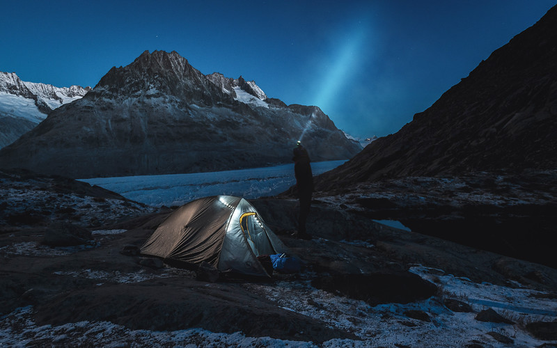 Camping next to a glacier during a cold and starry night,   Aletsch Gletscher, Switzerland 2017, Fiona Stappmanns