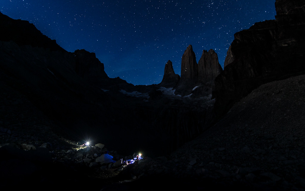 Under a starry sky, Torres del Paine National Park, Chile 2016