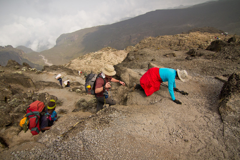 Maxine, exhausted, reaches the top of the Great Barranco Wall ~4420 m.