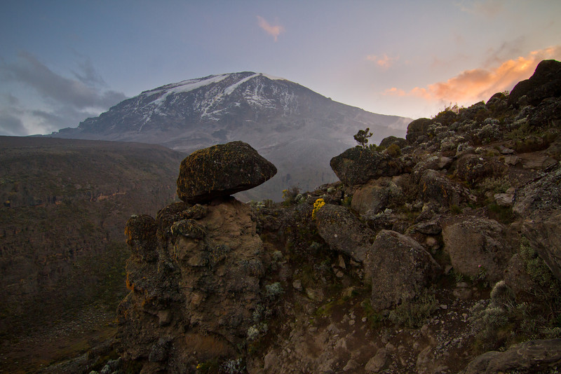 "Dawn and dusk appear to rotate around Kilimanjaro from a precariously balanced rock, which we named ""Porter Rock""."