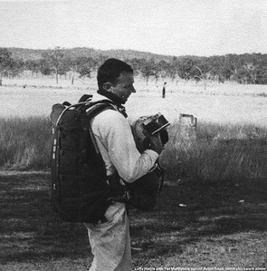 Loftyn Harris with one of his three B4 chutes he imported from States together with a set of bubble goggles which were so hard to buy in Australia. 35mm helmet mounted camera is borrowed from our great mate (he often weekended in our Albion apartment.Flat) Tex Middleton. Like so many of us was a permanent army (regular) guy. His car  Renault R-4
