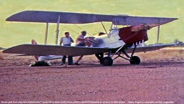 Charlie Rogers ready to start up his Tiger Moth on his sheep station out from Hughenden Qld. Lofty Harris & Rusty Bunworth were both flown (1 at a time) to jump height here.