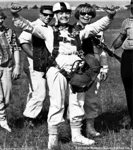 Both Lofty Harris and Billy Angus trained Maureen Simms and jump mastered her later flights including this one. 5th Jan 1964 Lofty Harris put Maureen out a 3,000ft, then jumped and Bobby Taylor followed. Maureen did a great first free fall. The one where if you don't pull the ripcord, there is no one else there to do it for you. Congratulations Maureen. Redbank Plains DZ.