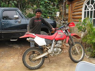 Ricardo and his XR400.  Ricardo lives in the small village of Potrero Redondo.