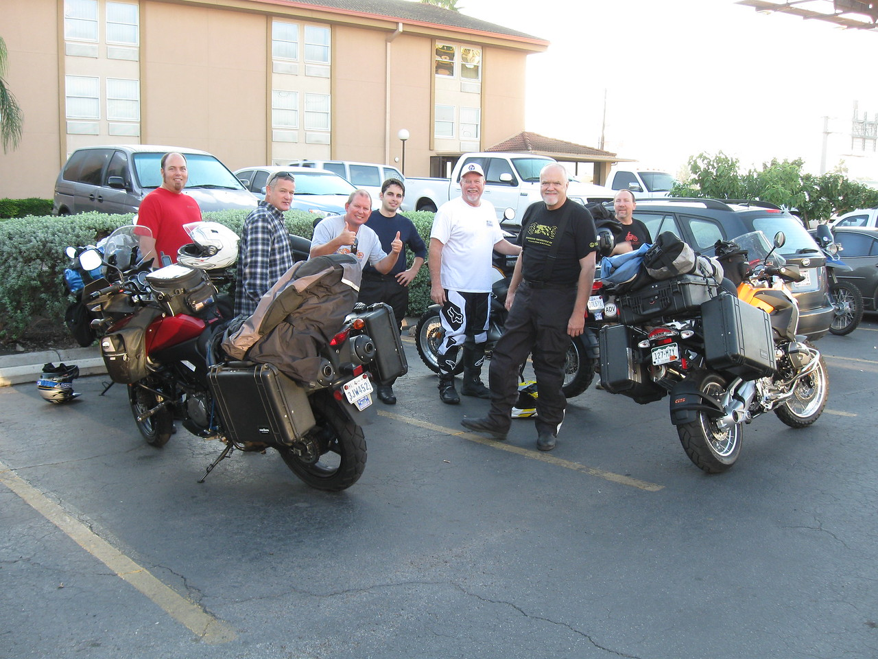 Ready to ride.  A group of us met up in McAllen so we could ride to Galeana together.